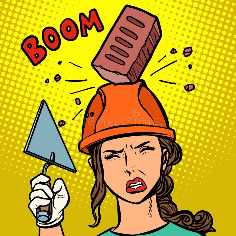 El ladrillo femenino del constructor cae en casco stock de ilustración