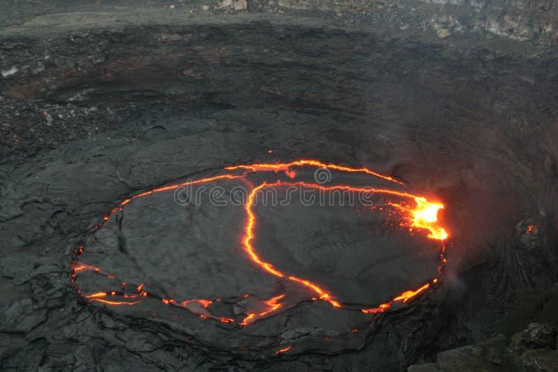 El lago de la lava de la cerveza inglesa de Erta imagen de archivo libre de regalías