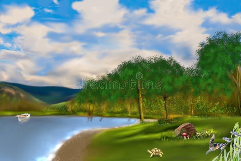 El lago en el bosque stock de ilustración