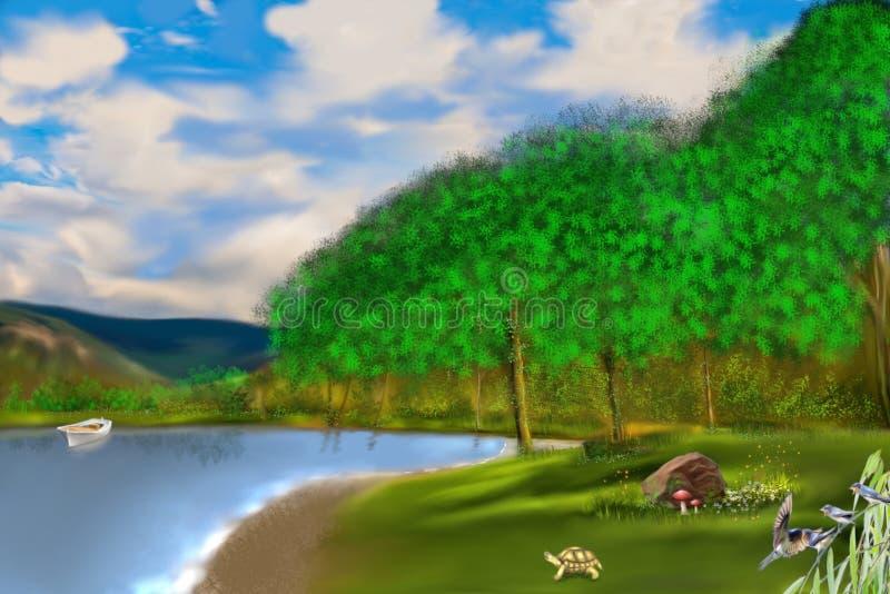 El lago en el bosque ilustración del vector