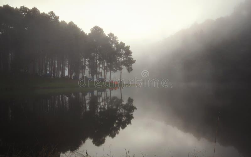 El lago en la niebla de la mañana en Pang Ung imágenes de archivo libres de regalías