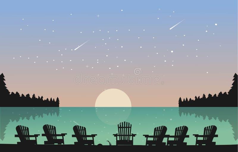 El lago hermoso con la silla ve el cielo por completo de la estrella ilustración del vector