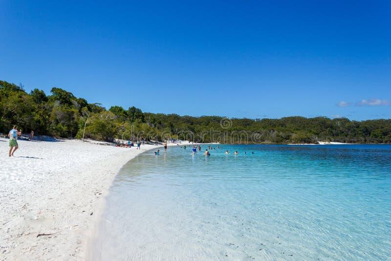El lago Mackenzie en Fraser Island de la sol de Queensland es un lago de agua dulce hermoso popular entre los turistas que visita foto de archivo