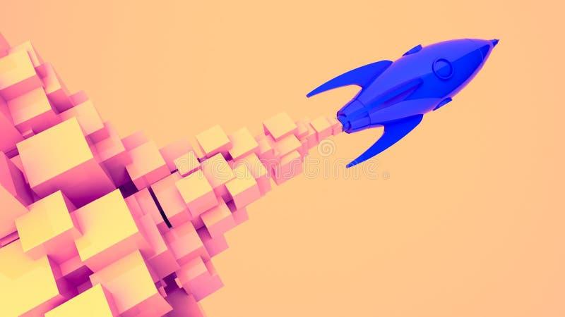 El lanzamiento de Rocket, empieza para arriba, concepto del ejemplo de nuevo producto del negocio en un mercado ilustración del vector