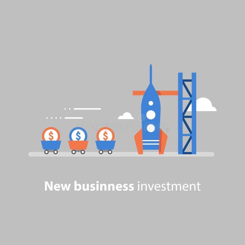 El lanzamiento de Rocket, nuevo negocio, comienza para arriba el concepto, atrayendo el dinero, obtención de fondos, capital de r ilustración del vector