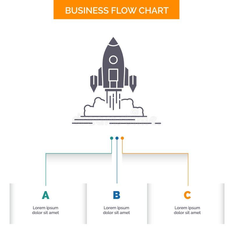 El lanzamiento, misión, lanzadera, inicio, publica diseño del organigrama del negocio con 3 pasos Icono del Glyph para el fondo d ilustración del vector