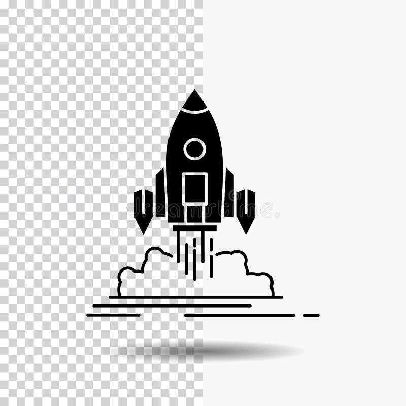 El lanzamiento, misión, lanzadera, inicio, publica el icono del Glyph en fondo transparente Icono negro stock de ilustración