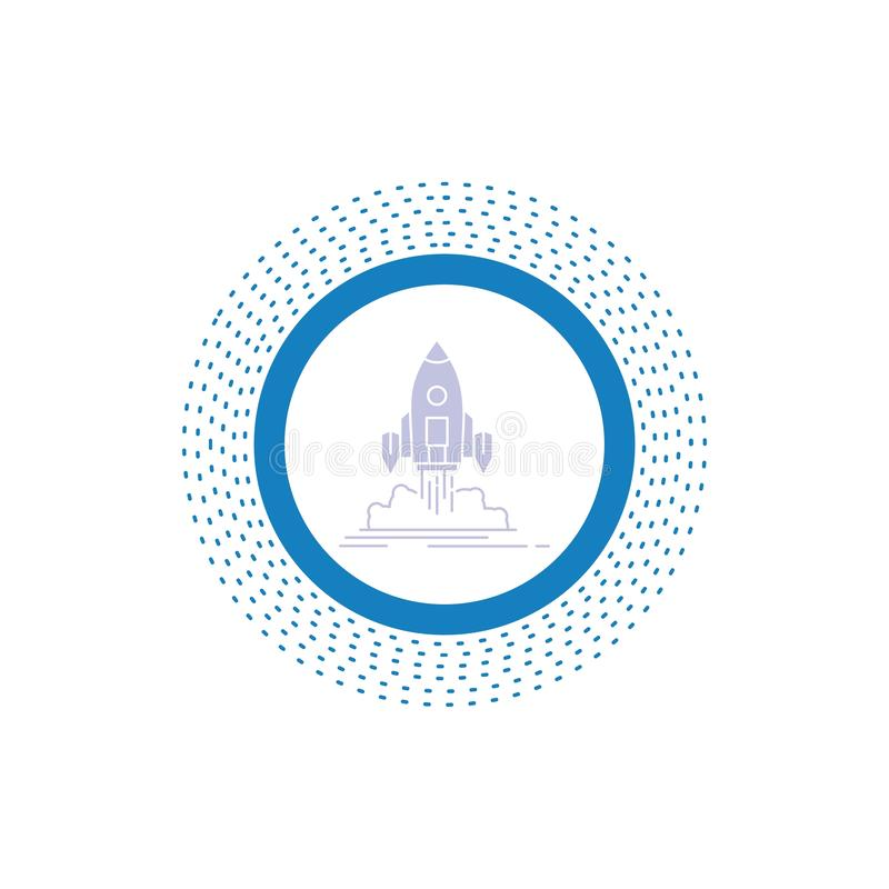 El lanzamiento, misi?n, lanzadera, inicio, publica el icono del Glyph Ejemplo aislado vector stock de ilustración