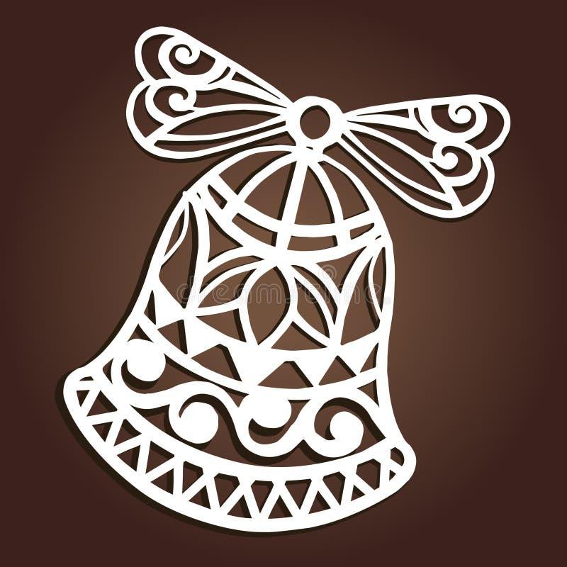 El laser cortó el diseño de papel del vector de la decoración de la campana de la Navidad Tarjeta de felicitación de la Feliz Nav libre illustration