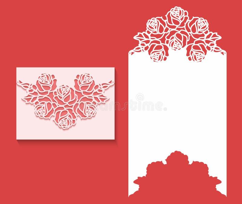 El laser cortó la plantilla del sobre para la invitación de boda de la invitación Tarjeta de felicitación de papel con la fronter stock de ilustración