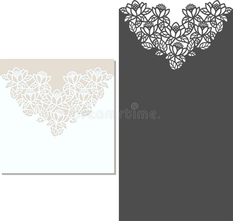 El laser cortó la plantilla del sobre para la invitación de boda de la invitación ilustración del vector