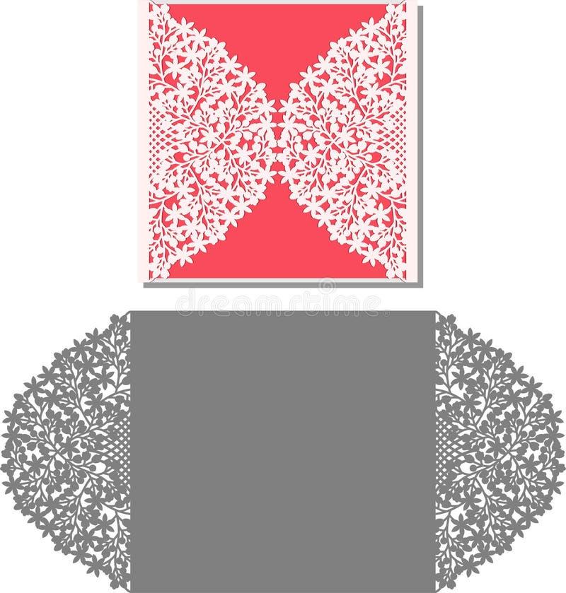 El laser cortó la plantilla del sobre para la invitación de boda de la invitación libre illustration