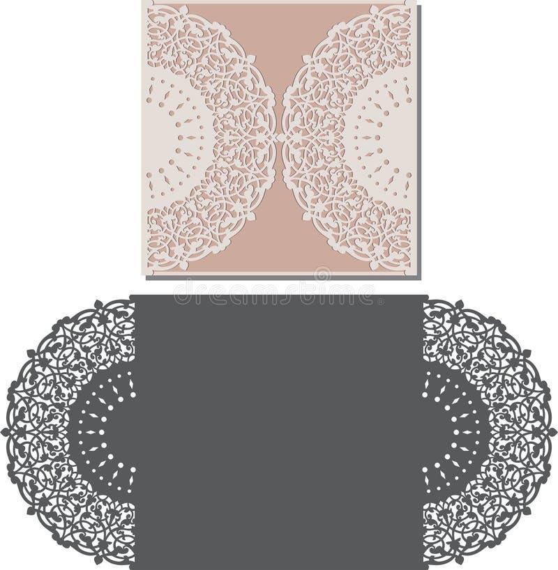 El laser cortó la plantilla del sobre para la invitación de boda de la invitación stock de ilustración