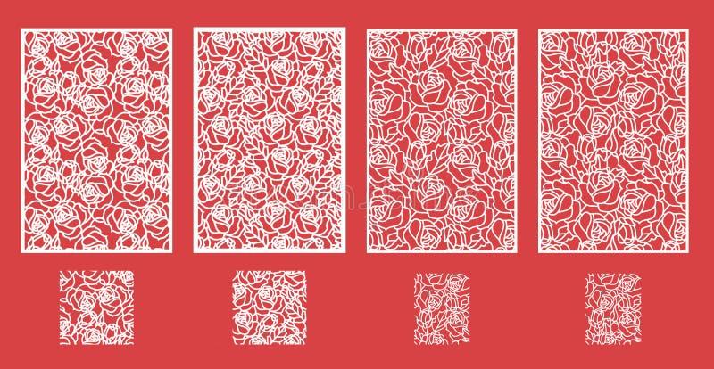 El laser cortó el panel del vector y el modelo inconsútil para el panel decorativo stock de ilustración