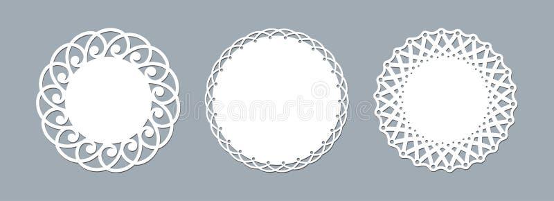 El laser del tapetito del cordón cortó la maqueta redonda de papel de la plantilla del ornamento del modelo de un bastidor blanco ilustración del vector