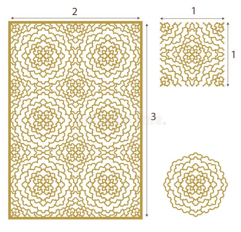 El laser del vector cortó el panel, el modelo inconsútil para decorativo ilustración del vector