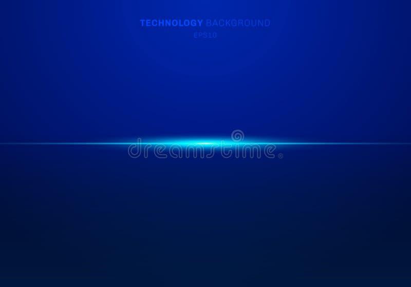 El laser ligero azul de los elementos del extracto alinea horizontal en fondo oscuro Estilo de la tecnolog?a stock de ilustración