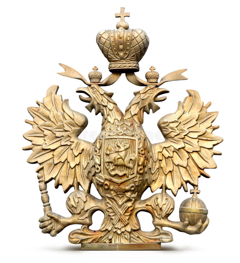 El latón doble-dirigió el símbolo del águila de Rusia imagen de archivo