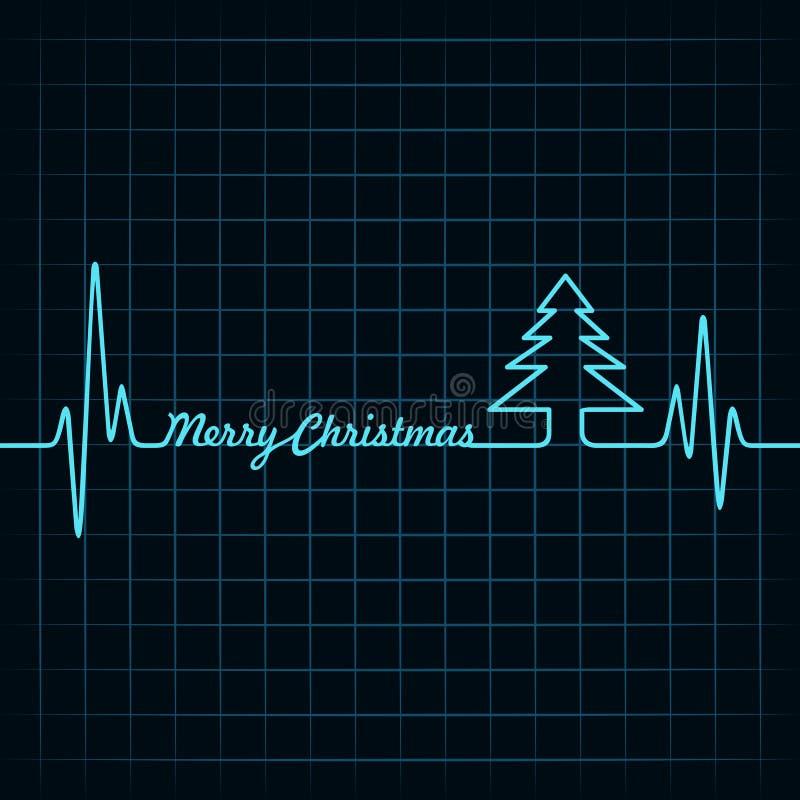 El latido del corazón hace el texto y el árbol de la Feliz Navidad ilustración del vector