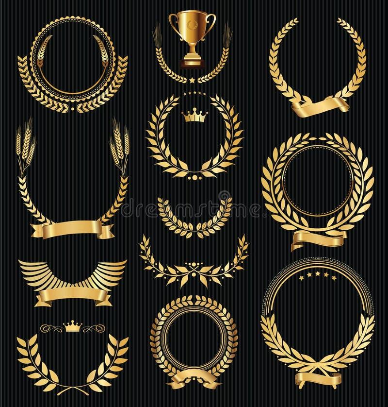 El laurel de oro del vintage retro enrruella vector de la colección stock de ilustración