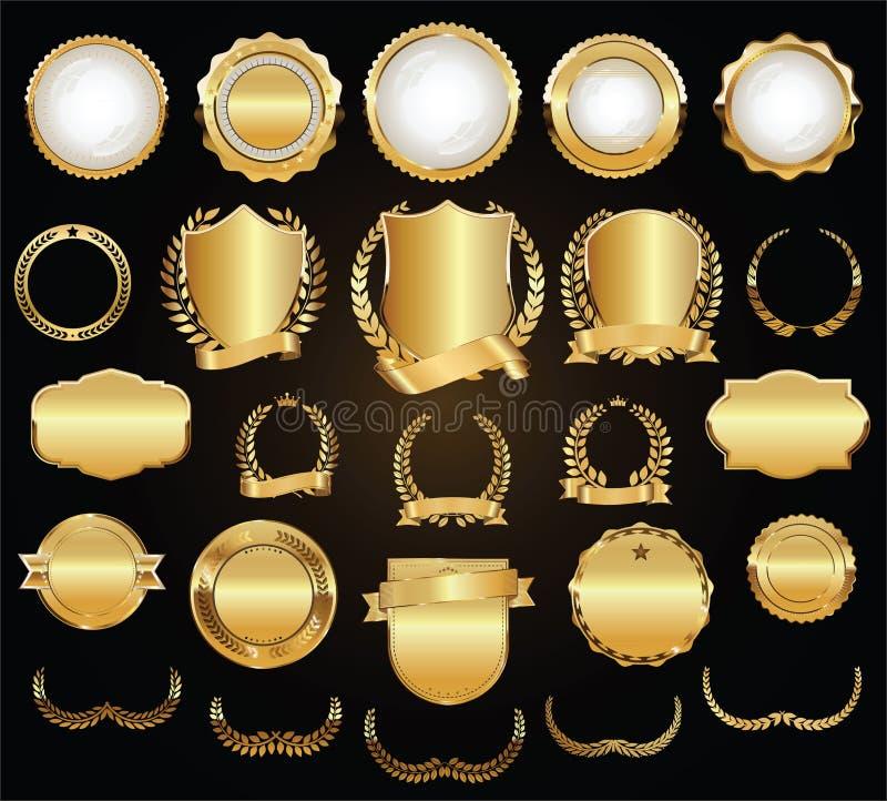 El laurel de oro de los escudos enrruella y badges la colección stock de ilustración