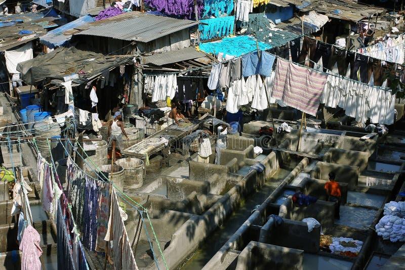 El lavadero del aire abierto en Mumbai fotos de archivo libres de regalías