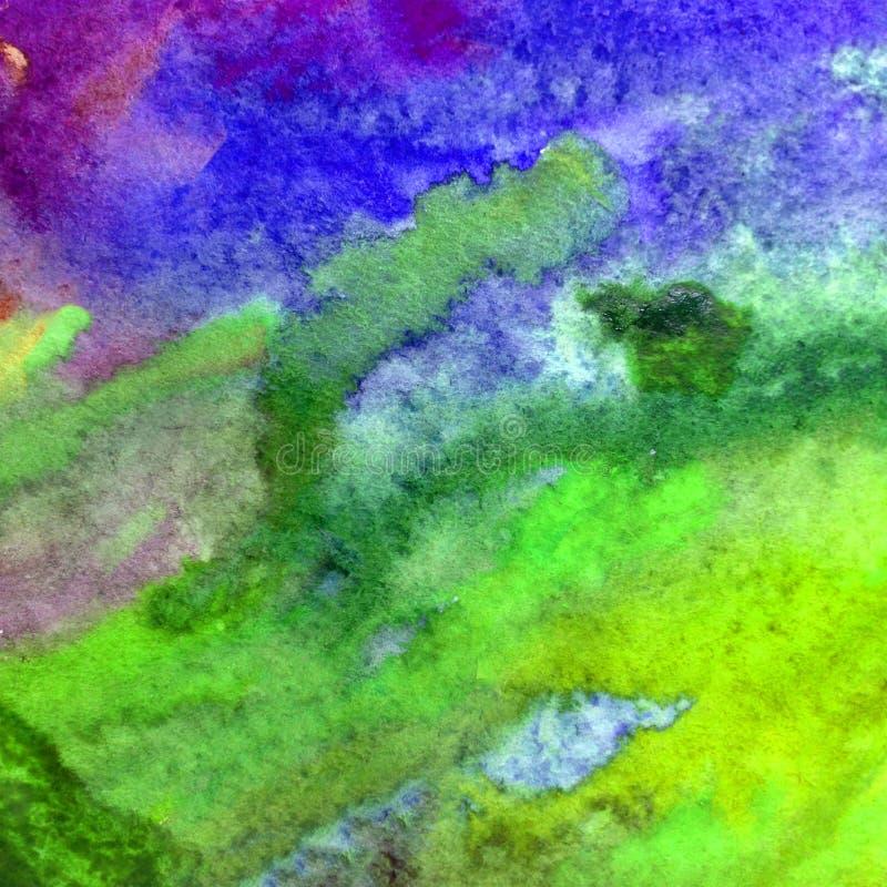 El lavado mojado subacuático del océano de la agua de mar del tinte del extracto del fondo del arte de la acuarela empañó fantasí imagen de archivo