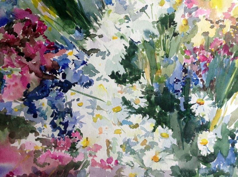 El lavado mojado texturizado moderno de los wildflowers del fondo del extracto del arte de la acuarela del prado floral hermoso f stock de ilustración