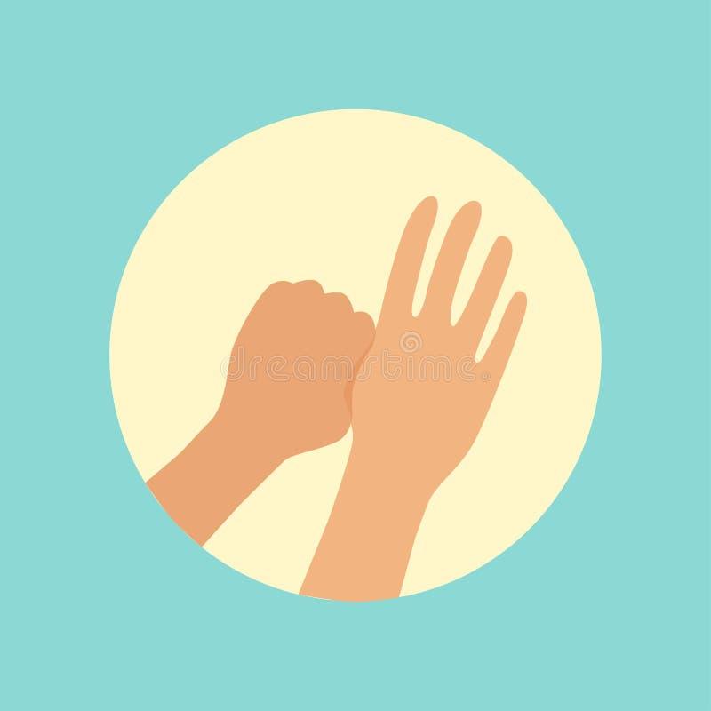 El lavarse da el foco en el ejemplo redondo del vector del finger de los pulgares stock de ilustración