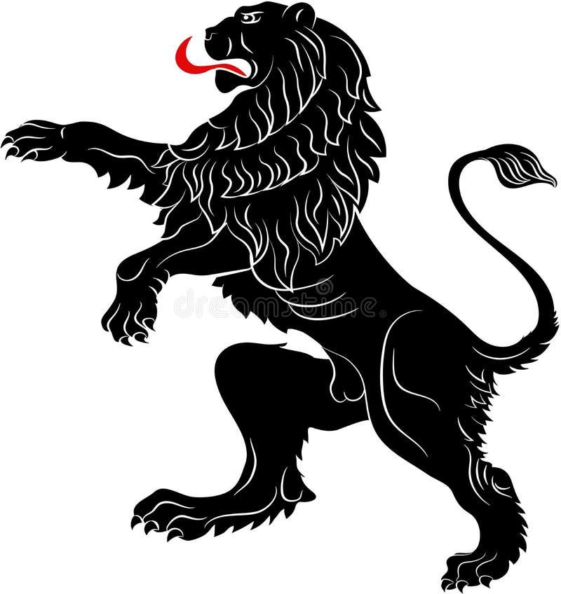 El león de los rebeldes - el símbolo heráldico usado en las banderas y la capa ilustración del vector