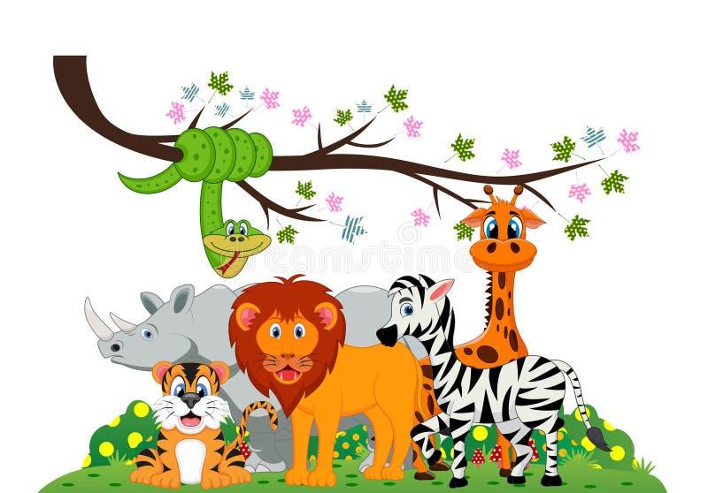 El león, el tigre, la cebra, el rinoceronte, la serpiente y la jirafa jugaban bajo rama de árbol stock de ilustración