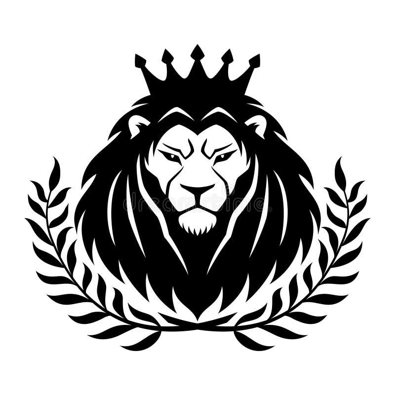 El león real en la corona y el laurel enrruellan ilustración del vector