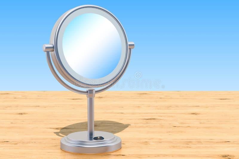 El LED iluminó el espejo de la sobremesa del maquillaje con magnificar en el w stock de ilustración