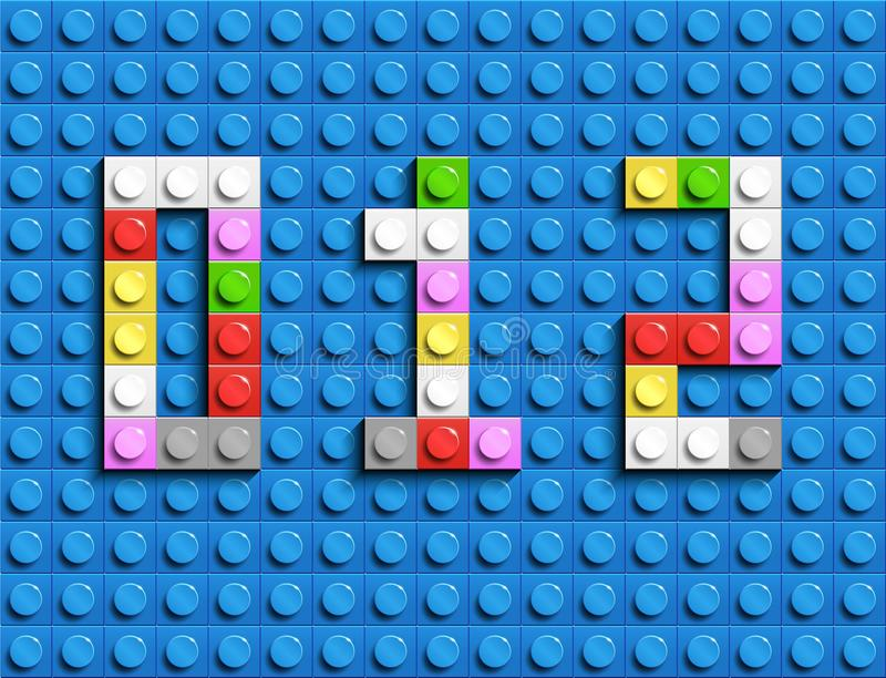 El lego colorido numera 0,1,2 de ladrillos plásticos del lego del edificio Números coloridos del lego del vector Fondo negro del  libre illustration