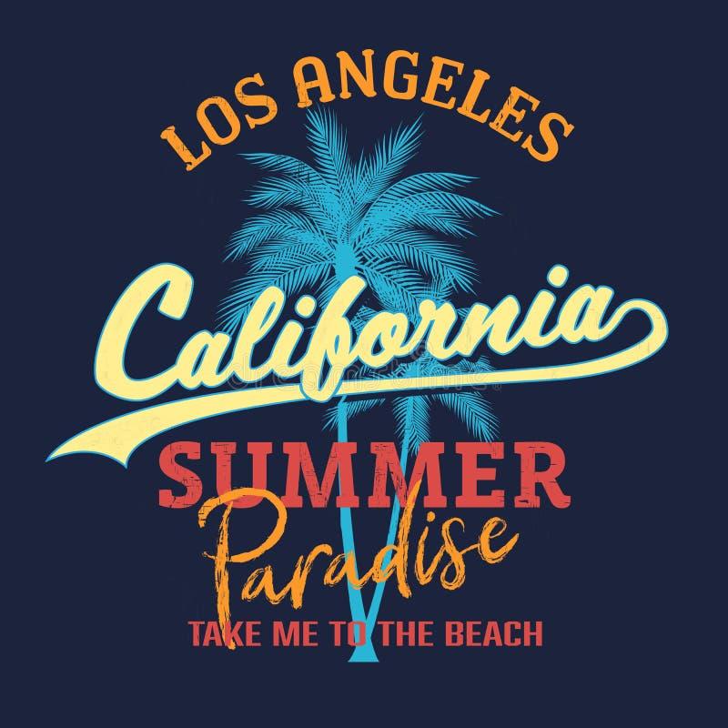El lema del paraíso de California, tipografía de la playa del verano, gráfico de la camiseta, lema, imprimió diseño Impresión de  ilustración del vector