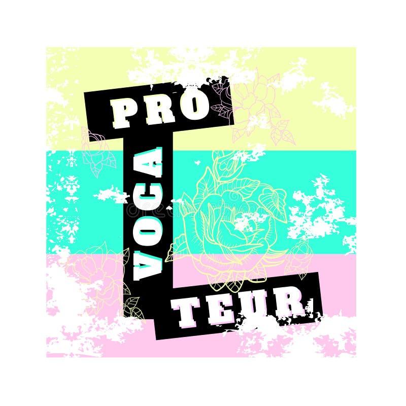 El lema del provocador con las rosas vector el remiendo para las ropas de la moda, camiseta stock de ilustración