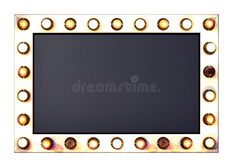 El letrero con anillo de las bombillas incluye la máscara del recortes foto de archivo