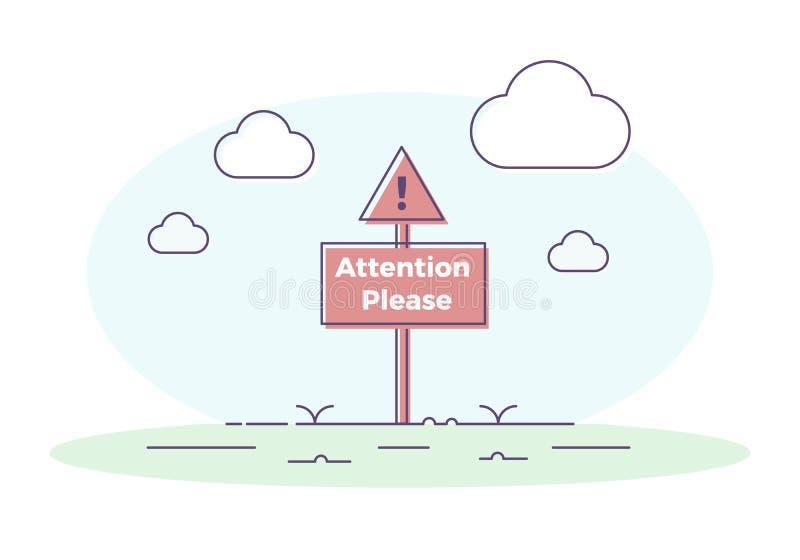 El letrero con la marca de exclamación y la atención citan por favor Diseño del ejemplo del vector libre illustration