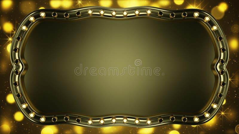 El letrero del oro con las bombillas que brillan intensamente 3D abstracto rinde ilustración del vector