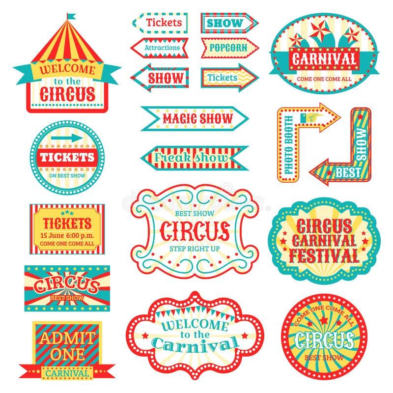El letrero del vintage del circo etiqueta el ejemplo del vector de la bandera en la muestra entretenida blanca de la bandera stock de ilustración
