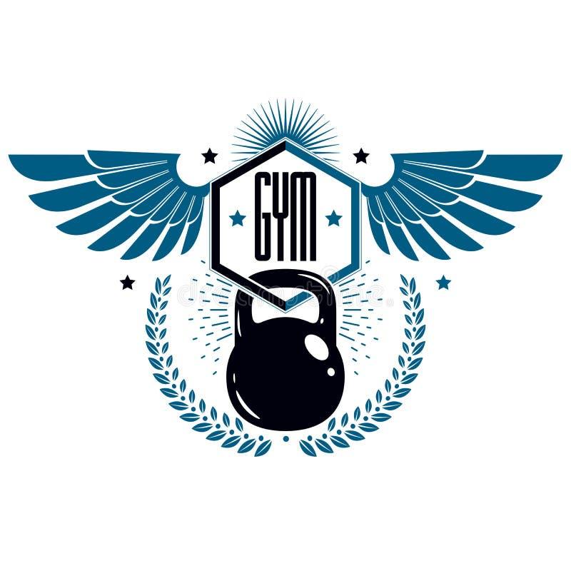 El levantamiento de pesas y la aptitud se divierten plantillas del logotipo, el emblema estilizado retro con alas o la insignia d ilustración del vector