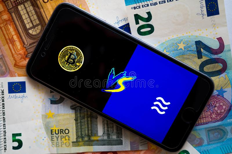 El libra es el nuevo cryptocurrency creado por Facebook fotos de archivo