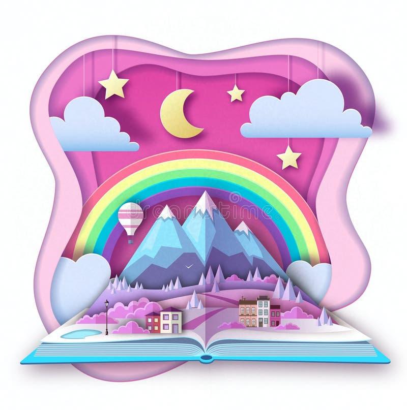 El libro abierto del cuento de hadas con las montañas del campo ajardina Diseño cortado del estilo del arte del papel stock de ilustración