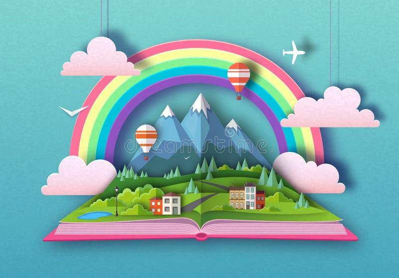 El libro abierto del cuento de hadas con las monta?as del campo ajardina Dise?o cortado del estilo del arte del papel stock de ilustración