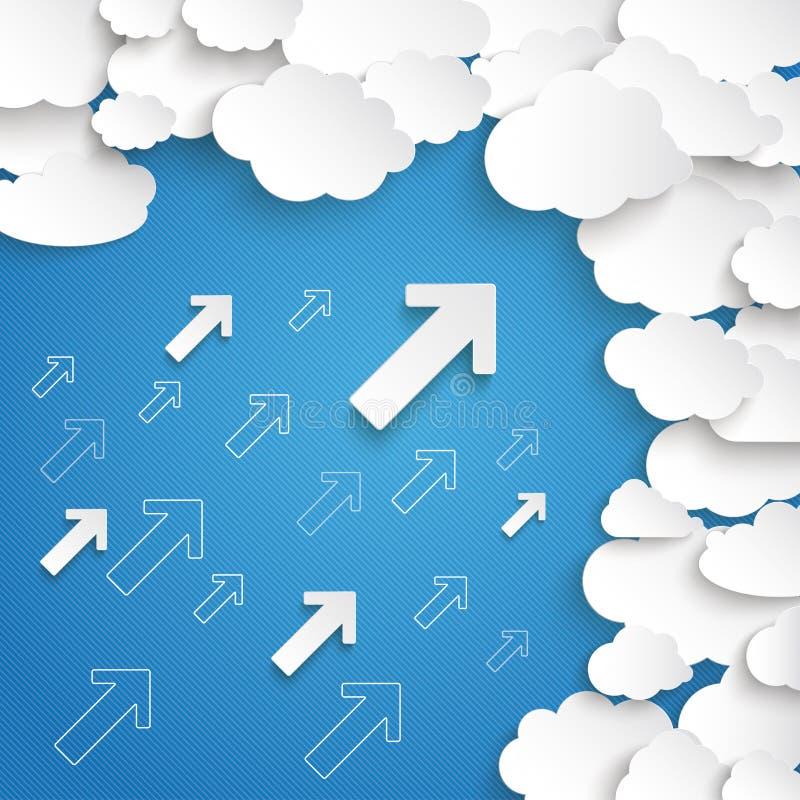 El Libro Blanco se nubla el cielo azul de las pequeñas flechas ilustración del vector