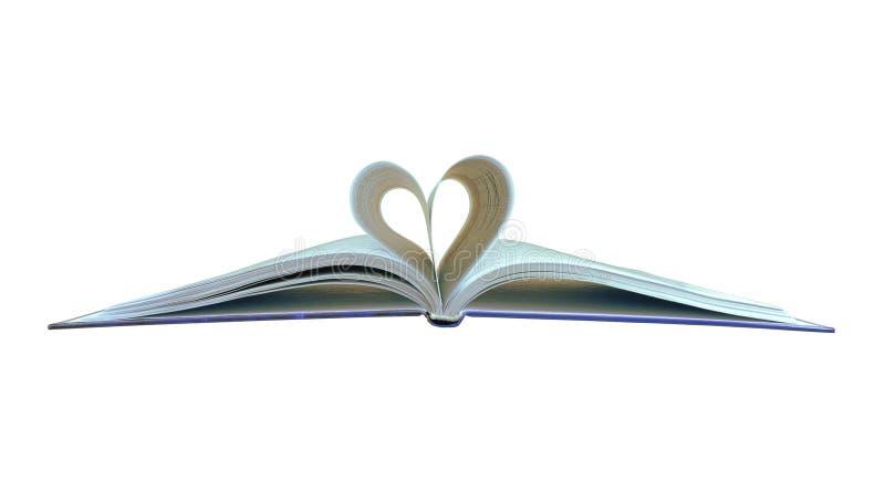 El libro con las hojas bajo la forma de corazón fotos de archivo