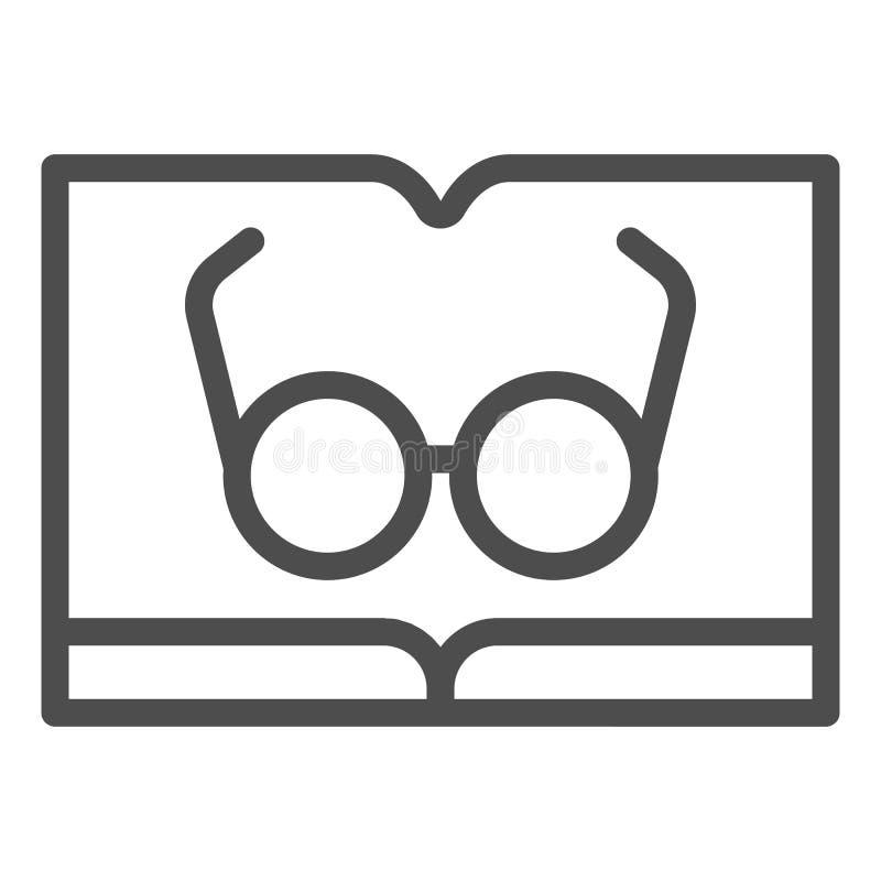 El libro con los vidrios alinea el icono Leyendo el ejemplo del vector aislado en blanco Diseño del estilo del esquema del conoci stock de ilustración