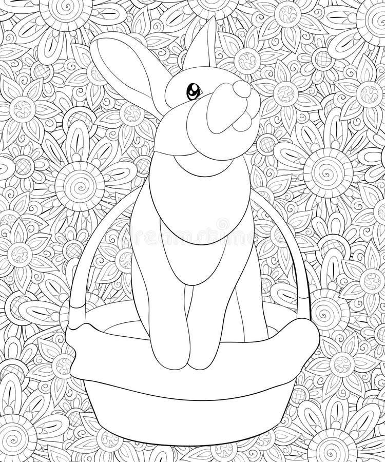 El libro de colorear adulto, pagina un conejo lindo en una imagen de la cesta para relajarse libre illustration