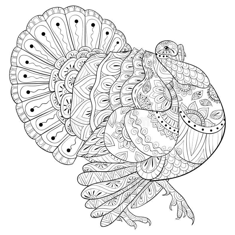 El libro de colorear adulto, pagina un pavo lindo para relajarse Ejemplo del estilo del arte del zen ilustración del vector