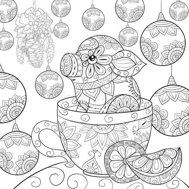 El libro de colorear adulto, pagina un pequeño cerdo lindo en una taza en el fondo de la Navidad stock de ilustración